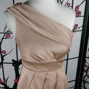 Jenny Yoo Dresses - Jenny Yoo Rose Gold Textured One Shoulder Dress